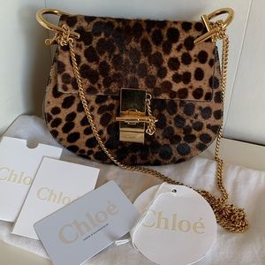 Chloe small drew calf hair leopard prints bag
